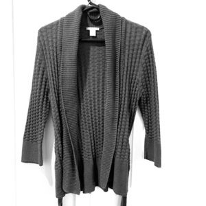 H&M grey open sweater cardigan with tie